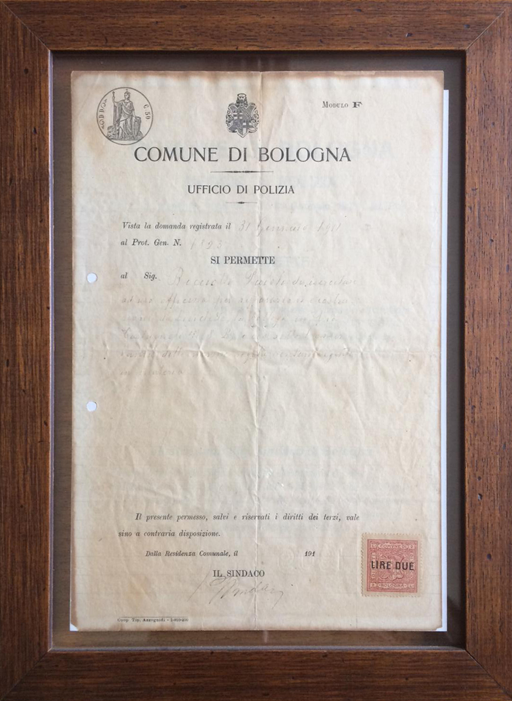 Documento Paioli 1911